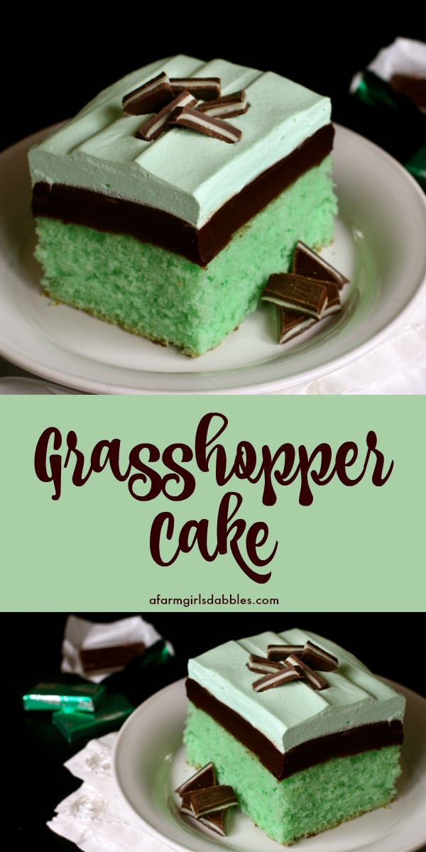pinterest image of grasshopper cake with layers of mint cake, chocolate fudge, and minty whipped cream