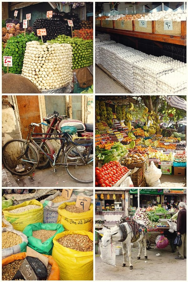 a collage of photos from a market in egypt