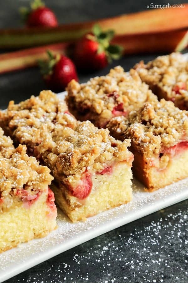 Strawberry Rhubarb Crumb Bars from afarmgirlsdabbles.com