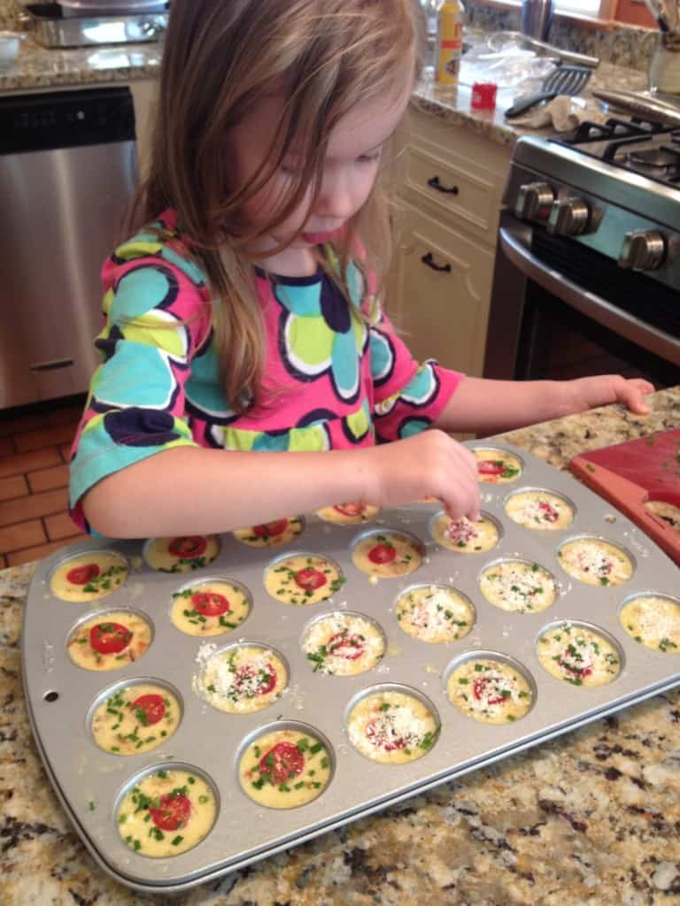 a girl making frittatas