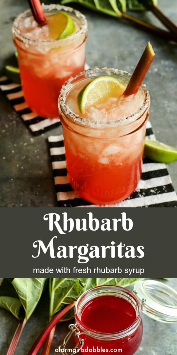 Rhubarb Margarita from afarmgirlsdabbles.com - Made with the familiar ingredients of a margarita, plus a swirl of homemade fresh rhubarb simple syrup. Serve in mason jar glass with a salted rim, if you like. #rhubarb #margarita #cocktail #bigbatch #summerentertaining
