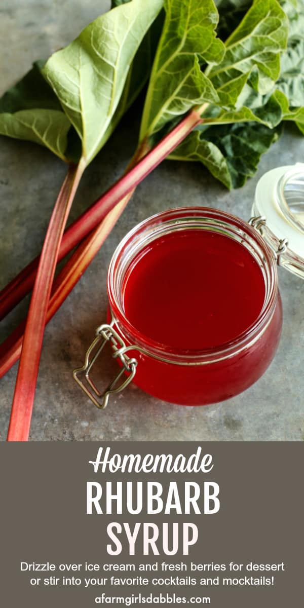 Ruby Rhubarb Syrup from afarmgirlsdabbles.com - A beautiful ruby red hued simple syrup made from rhubarb and just a few other ingredients. Drizzle over ice cream or breakfast pancakes, or stir into your favorite cocktail or mocktail. #rhubarb #syrup #simplesyrup