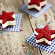 patriotic ice cream sandwiches with red velvet shortbread stars and cheesecake ice cream - from a farmgirl's dabbles