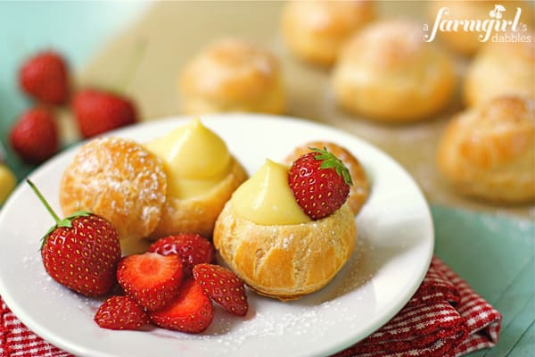 vanilla filled mini cream puffs