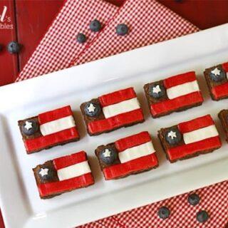 a plate of patriotic brownies