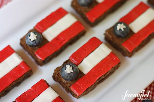brownies decorated with red, white, and blue