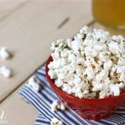 a Bowl of Parmesan Dill & Garlic Popcorn