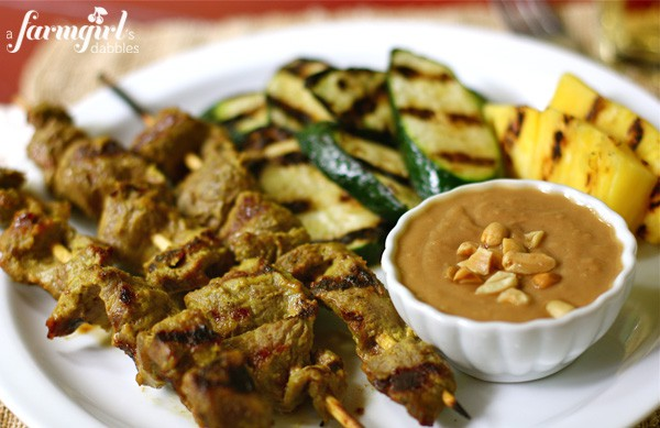 ... sirloin beef satay with beef satay with peanut dipping beef satay