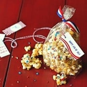 a gift bag of red, white, and blue popcorn