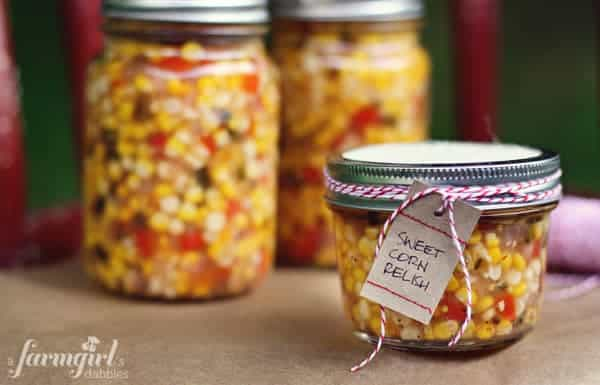 mason jars of sweet corn relish
