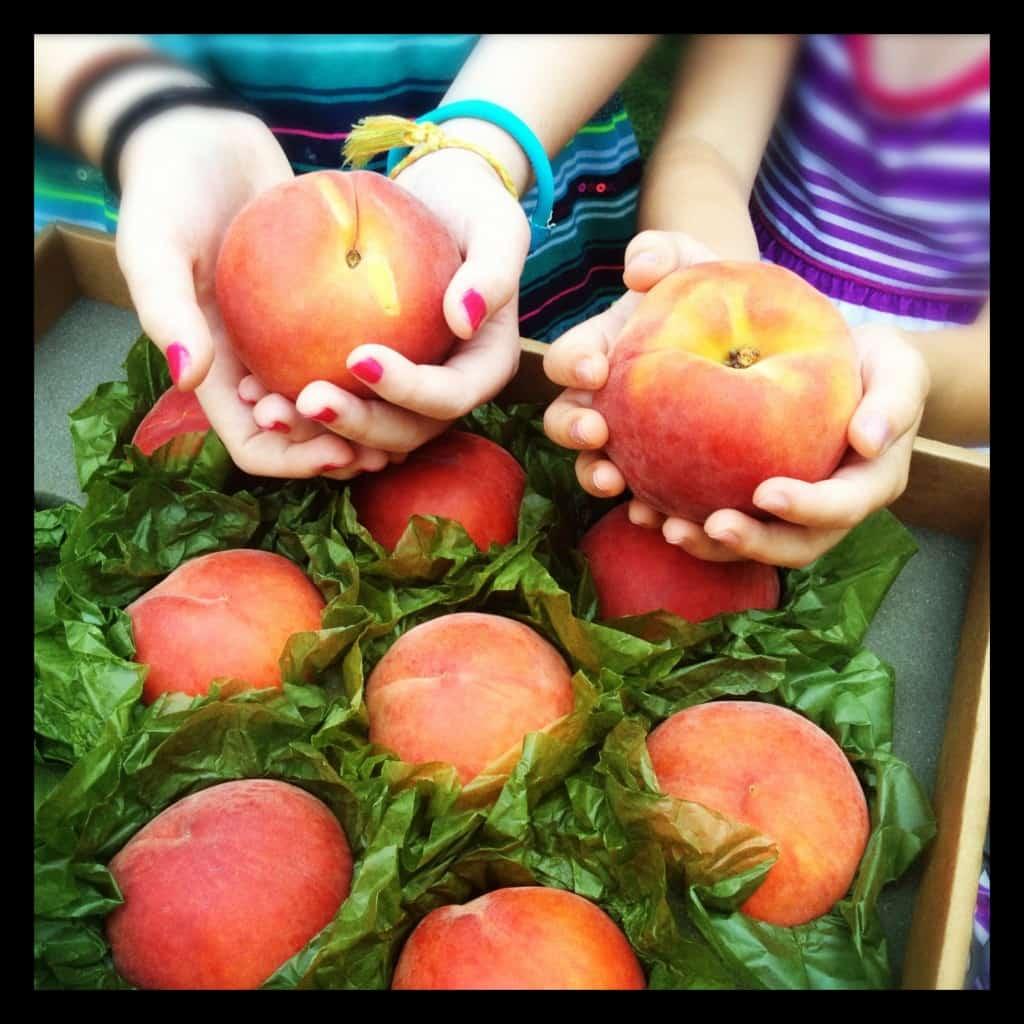 a box of peaches