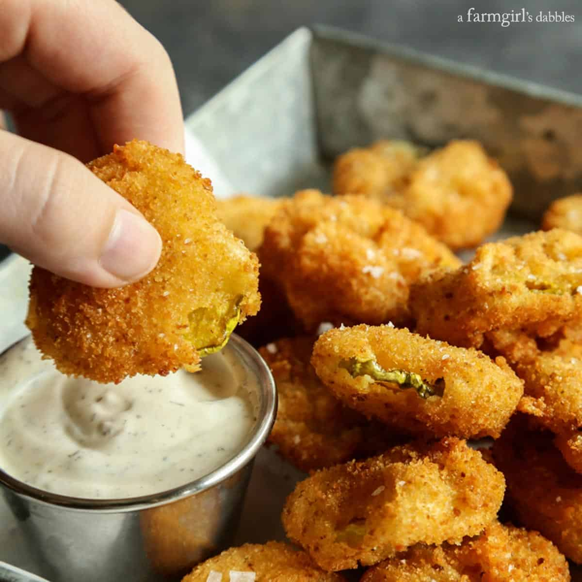 Fried Pickles from afarmgirlsdabbles.com