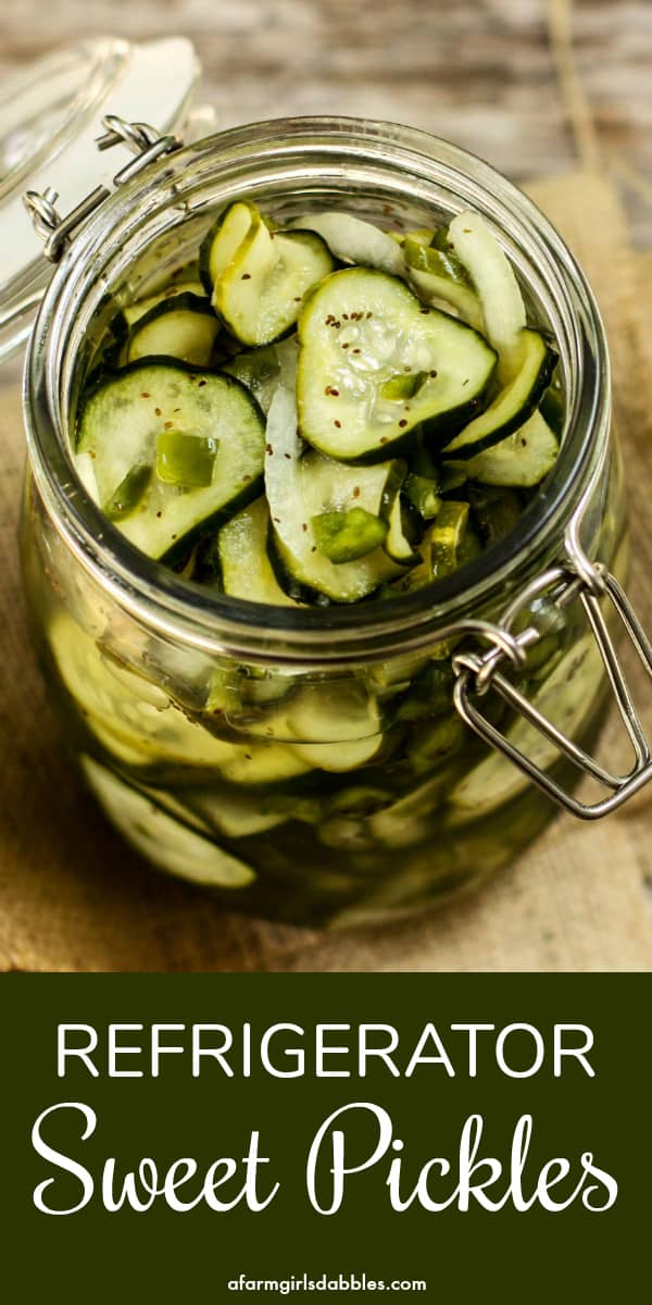 Refrigerator Sweet Pickles from afarmgirlsdabbles.com - A perfect way to preserve all those fresh end-of-summer garden cucumbers. The sweet pickles come together in quick and easy fashion, with a short list of ingredients. And there's no need for any fancy equipment! #pickles #sweetpickles #preservation #pickling #cucumber #cucumbers