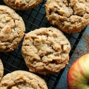 Apple Peanut Butter Cookies on a cooling rack