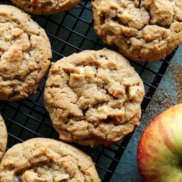 Apple Peanut Butter Cookies from afarmgirlsdabbles.com - The perfect cookies to enjoy on a crisp fall or winter day! #peanutbutter #apple #cookies #fall