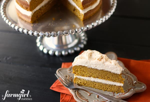 a slice of pumpkin cake