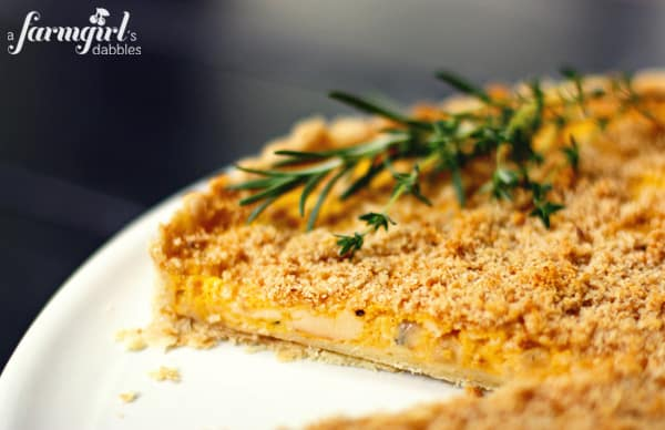 butternut squash tart with fresh thyme and rosemary