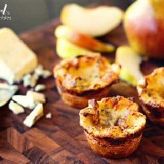 three blue cheese popovers with apple slices