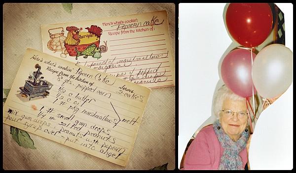 original recipe card for popcorn cake