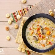 smoked turkey chowder with mushrooms and sweet potatoes