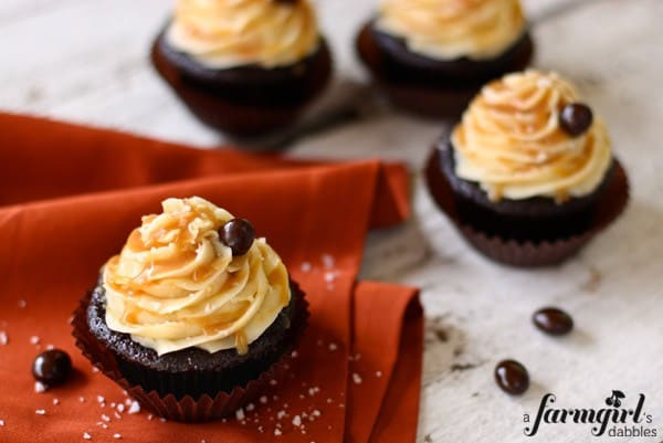 chocolate cupcakes with salted caramel buttercream and chocolate covered coffee beans