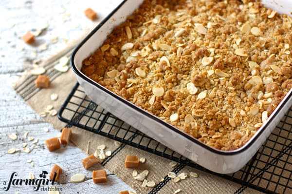 a pan of apple crisp on a cooling rack