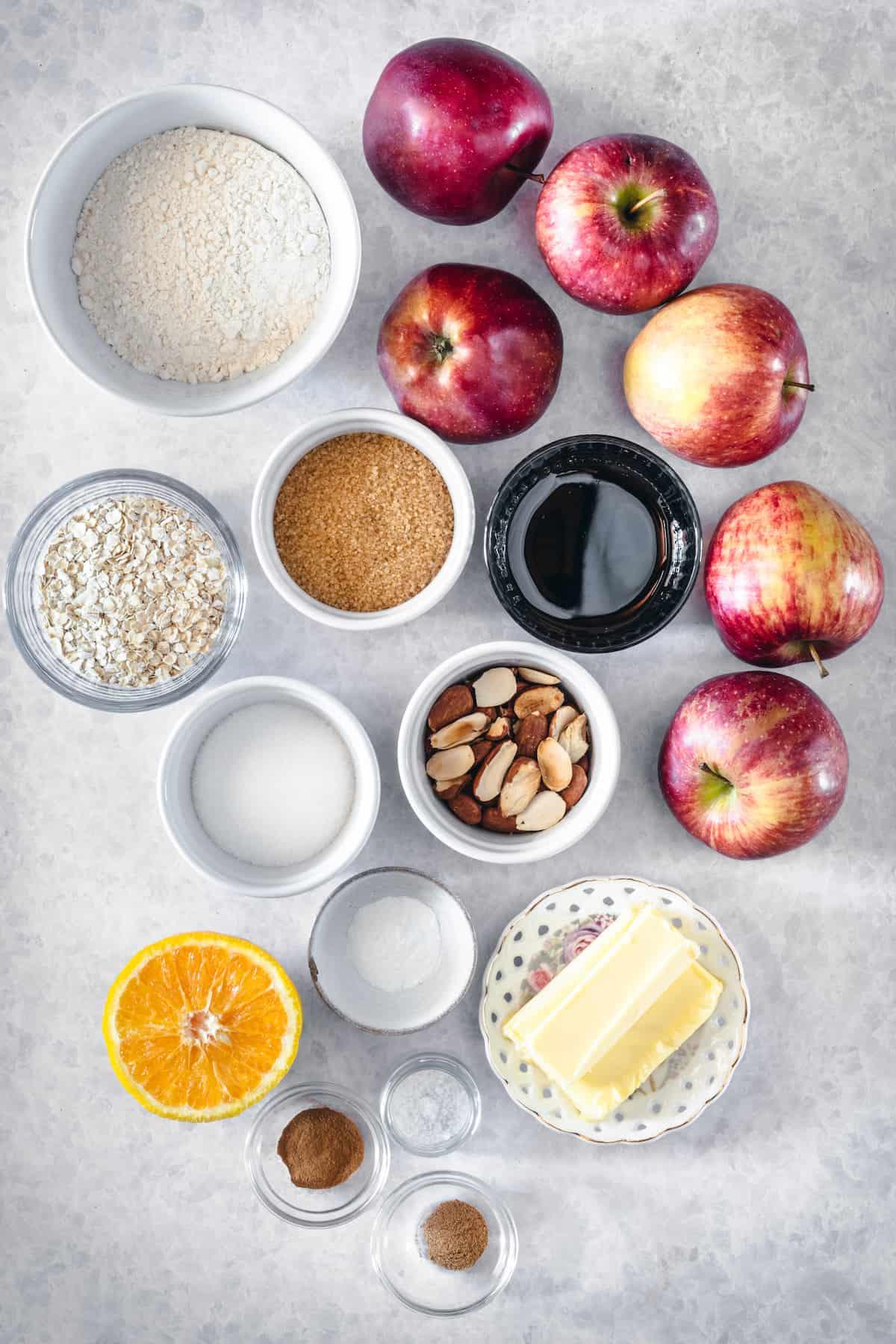 Overhead view of the ingredients in caramel apple almond crisp