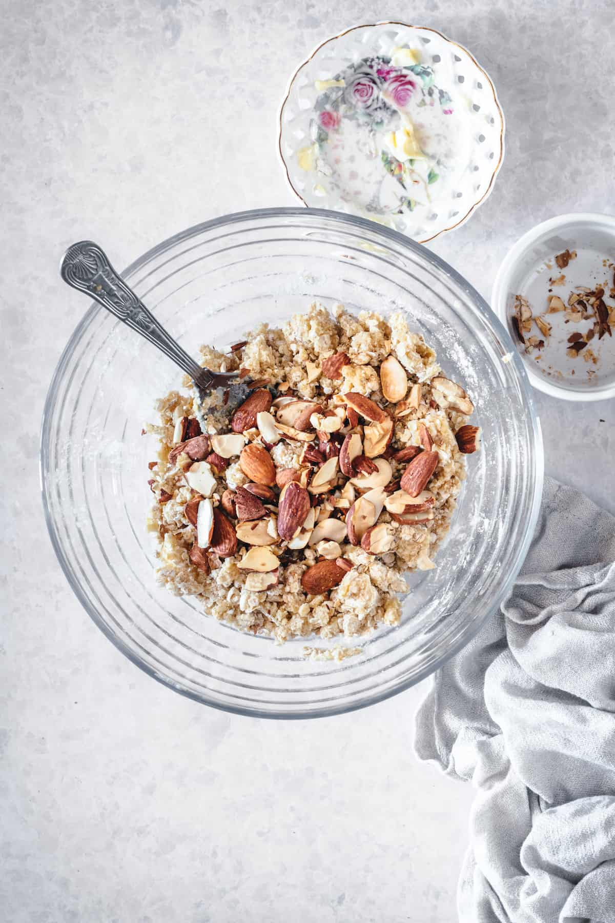 Almond crisp topping ingredients in a mixing bowl