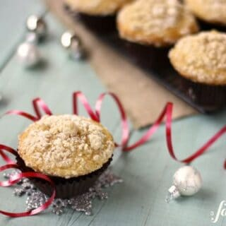 an eggnog muffin with christmas ornaments