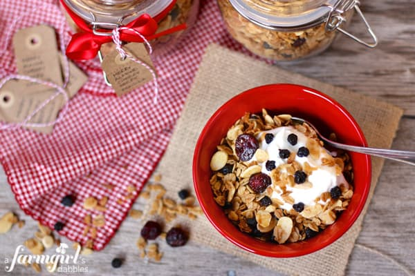 Merry Almond Cherry Berry Granola from afarmgirlsdabbles.com