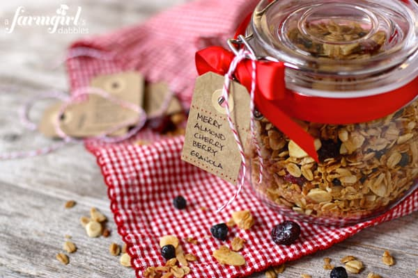 a jar of Almond Cherry Berry Granola
