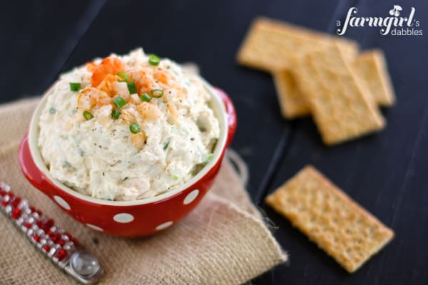 Shrimp Dip from afarmgirlsdabbles.com - This cold shrimp dip recipe is one of the easiest and best appetizers you'll ever make. It's thick and creamy, and full of clean shrimp flavor. Make it for the holidays, game day, or any other gatherings all year 'round! - #shrimp #dip #appetizer #creamcheese #mayonnaise #cannedshrimp #canned #gameday