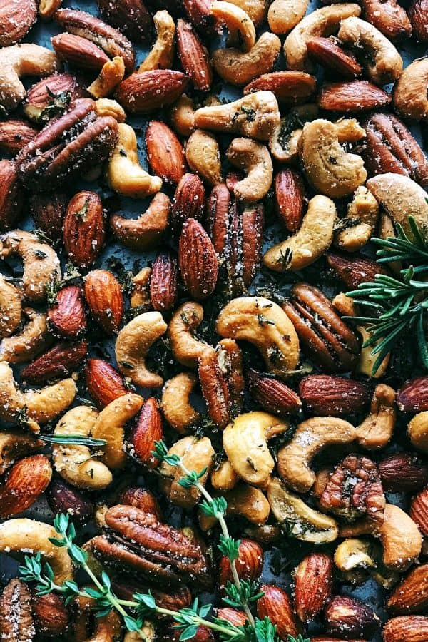 a pan of Rosemary Thyme Spiced Nuts
