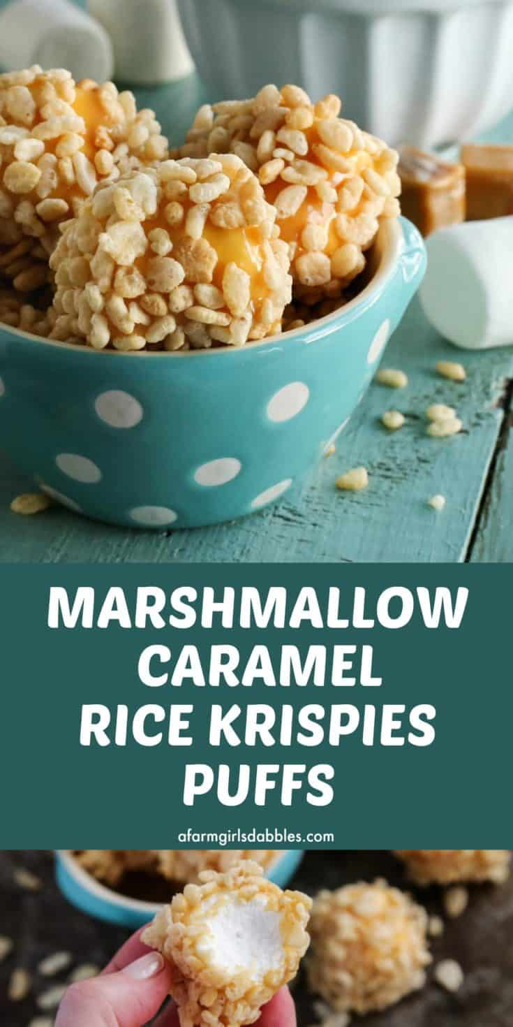 Marshmallow Caramel Rice Krispies Puffs from afarmgirlsdabbles.com - These are a cheery, soft and gooey, no-bake treat. A Christmas tradition for our family that's also super fun for game day, movie night, or any casual gathering! #marshmallow #caramel #ricekrispies #ricekrispie #rice #krispie #krispies #puffs #balls #delights #easy #recipe #nobake #Christmas #dessert #gameday #footballfood