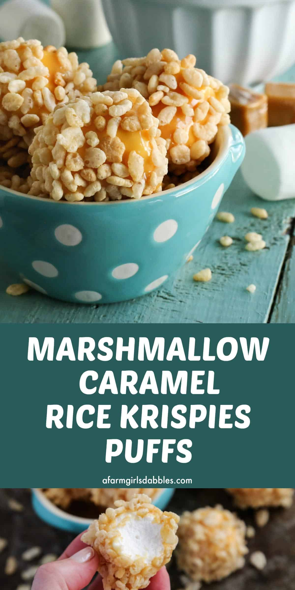 pinterest image of marshmallow caramel rice krispies puffs in an aqua polka dot bowl