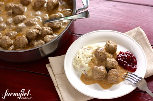 Swedish Meatball Recipe from afarmgirlsdabbles.com