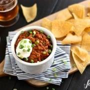 Cheesy Beef Taco Dip - www.afarmgirlsdabbles.com