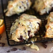 orange and dark chocolate scones with orange glaze - www.afarmgirlsdabbles.com