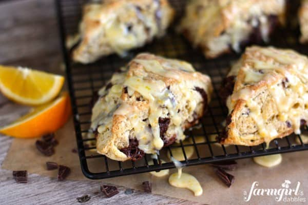 orange scones on a cooling rack
