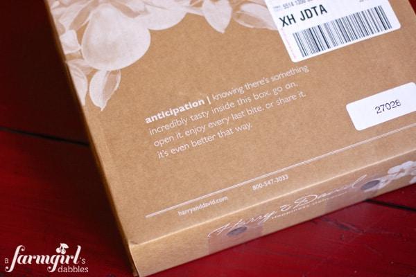 "Harry and David box of ""anticipation"""