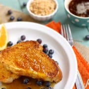 french toast with caramelized cinnamon orange sugar and marmalade syrup