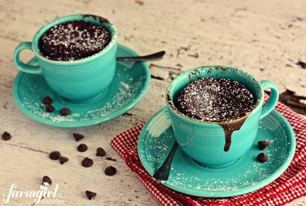 Gooey Chocolate Mug Cake for Two from afarmgirlsdabbles.com - chocolate cake cups