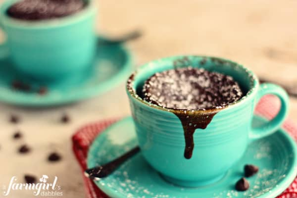 gooey chocolate cake cups for two, in 2 minutes!