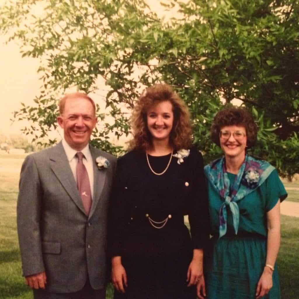 With Dad and Mom, on my high school graduation day. (1989)