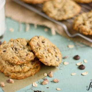 These chocolate chip oatmeal cookies are filled with toffee bits and pecans.