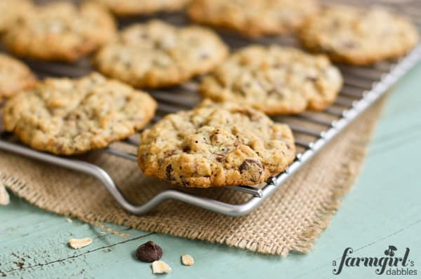 oatmeal cookies with toffee on a silver cooling rack