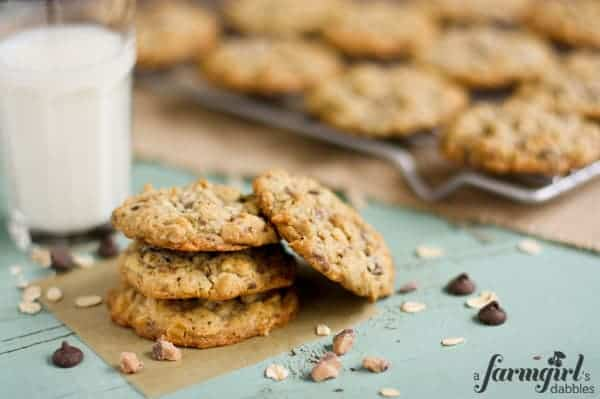 a stack of chocolate chip oatmeal cookies