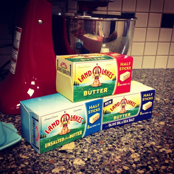 three boxes of Land O'Lakes butter