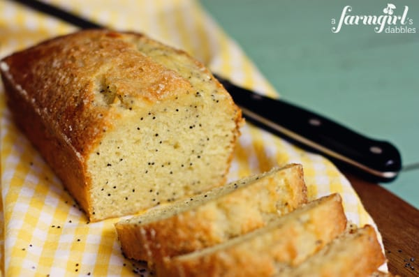 almond poppy seed bread with lemon glaze - www.afarmgirlsdabbles.com