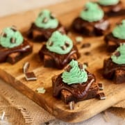 fudgy brownies with chocolate ganache and mint buttercream